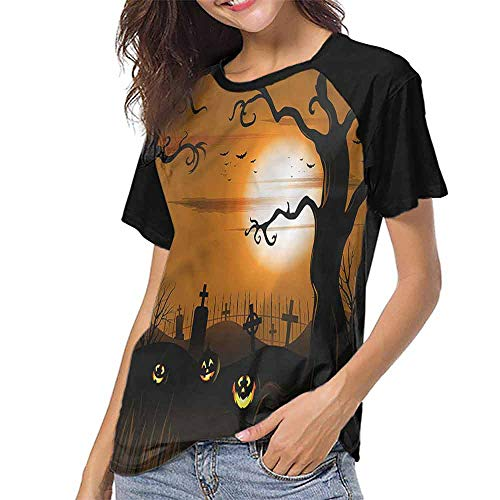 Girls Short Sleeve Tops,Halloween,Scary Cemetery S-XXL Printed Crew Neck Casual Tee Tops