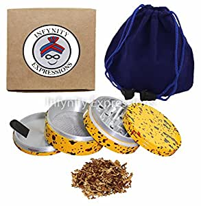 2.20 inch 4 Piece Herb Tobacco Spice Grinder - Yellow Trance W CARRY POUCH & SCRAPER