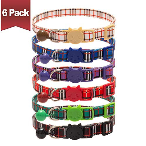 BINGPET Breakaway Cat Collars with Bell, Safety Buckle Plaid Patterns Mixed Colors, Adjustable Kitten Collars from 7.8-11.8 Inch, 6 Pack