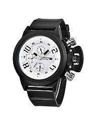 DaySeventh Mens Fashion Silica Sport Date Chronograph Analog Quartz Wrist Watch (Black)