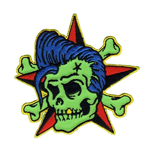 Reed Rockin Billy Patch Star Cross Bones Artist Embroidered Iron On Applique -
