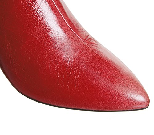 Red Curved Aubergine Boots Leather Ankle Heel Office q06A86