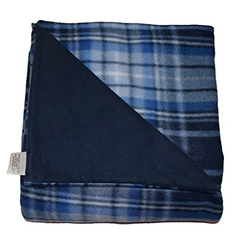 SENSORY GOODS Child - Deluxe - MADE IN AMERICA - Small Weighted Blanket 6lb Medium Pressure - Herringbone-Blue II Pattern/Navy - Fleece/Flannel (40'' x 52'') Provides Comfort and Relaxation. by SENSORY GOODS