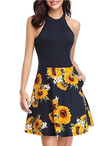 MSBASIC Sunflower Dress, Work Dress Summer Dress for Women Navy Sunflower -