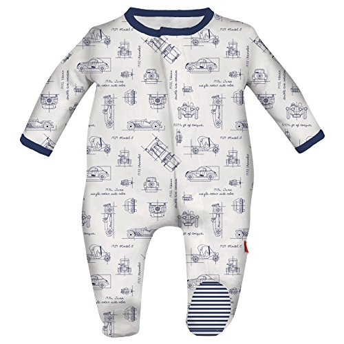 Magnificent Baby Baby Infant Magnetic Footie, Blueprint Blue, NB