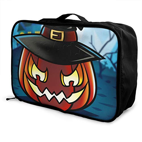Travel Duffel Bags How-to-draw-a-halloween-pumpkin 1 000000020888 5 Large Capacity Portable Luggage -