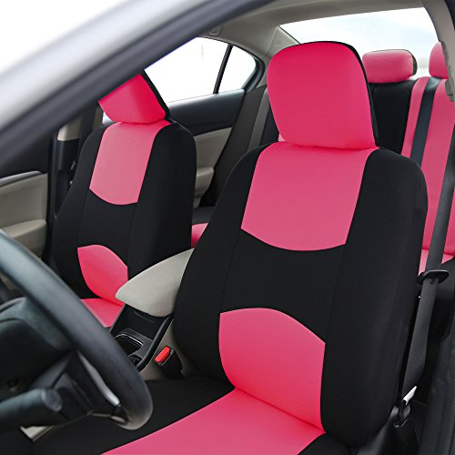 fh group universal fit full set flat cloth fabric car seat cover pink black fh fb050114 fit. Black Bedroom Furniture Sets. Home Design Ideas