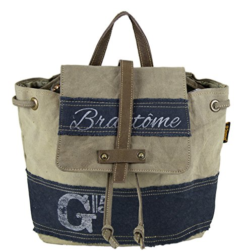 Bolso de compra señora Sunsa Vintage Bolso de hombro bolso de mano hecho de tela / tela con cuero 51723