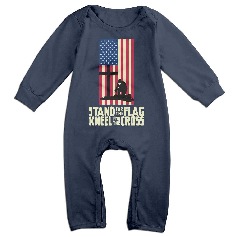 Mri-le1 Baby Boy Girl Long Sleeve Jumpsuit Stand for The Flag4 Baby Clothes