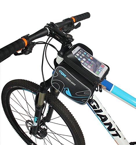 Fahrradtasche Rahmentaschen,Nunen 6 Zoll Fahrrad Rahmentasche Frarradschnalletasche mit zwei Fäche, Farhradlenkertasche Fahrradtasche Lenker, Frarradschnalletasche Radfahren Rahmentaschen, Wasserabwei