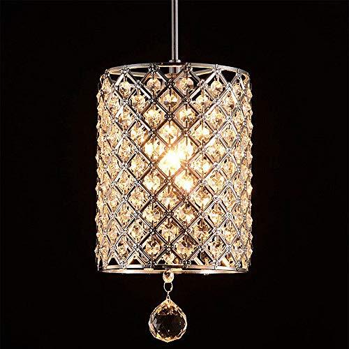 Lighting 1-Light Chrome Round Metal Shade Crystal Chandelier Pendant Hanging Ceiling Fixture,110v