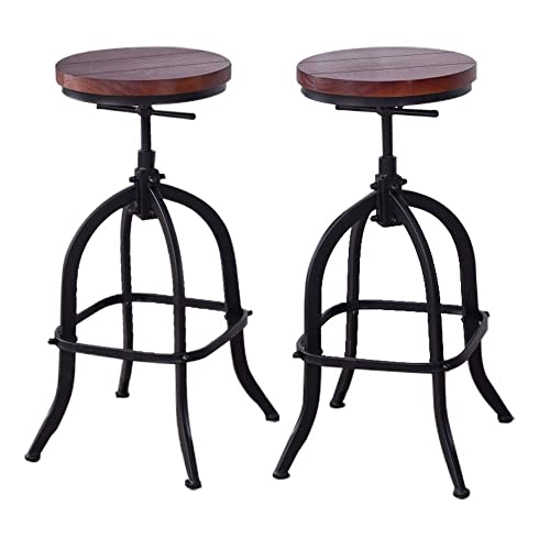 Joelgium Adjustable Swivel Bar Stools for Kitchen Counter,Rustic Counter Height Bar Stools Set of 2 – Natural Wood Seat – Rustic Brown 033