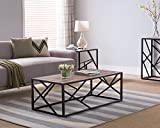 Weathered Oak Finish / Black Metal Frame Abstract Cocktail Coffee Table For Sale