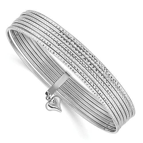 14k White Gold Slip On 7 Bangles Bracelet Cuff Expandable Stackable Bangle Fine Jewelry Gifts For Women For Her