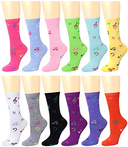 High School Musical Shoes (12 Pairs Women's Crew Socks Assorted Colors (Musical Note) 96005)