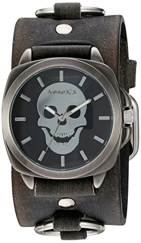 Nemesis 'Skull Head Series' Quartz Stainless Steel and Leather  Watch, Color:Black (Model: ()