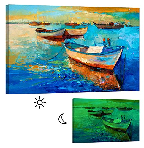 LightFairy Glow in the Dark Canvas Painting - Stretched and Framed Giclee Wall Art Print - Like Oil Painting Boats in Port - Master Bedroom Living Room Decor - 6 Hours Glow - 46 x 32 inch by LightFairy