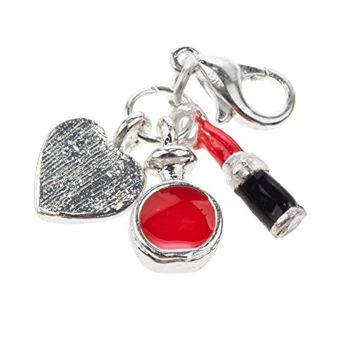Fantastic Tripple Clip On Pendant Charm For Bracelets Bangles With Lipstick, Perfume Bottle And Heart Shapes By VAGA©