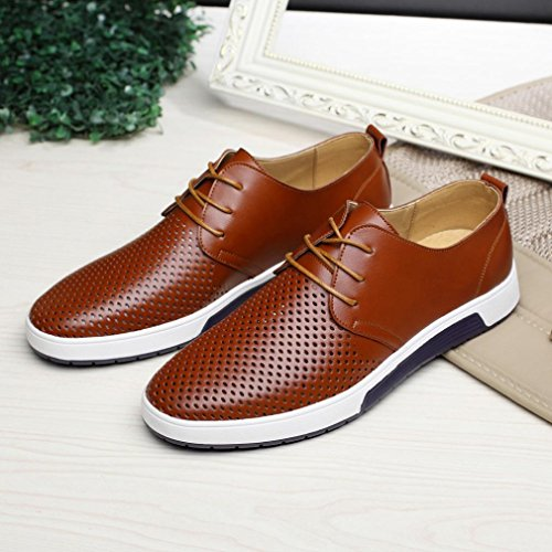 Hollow Mens Office brown On Slip Leisure Leather Driving Business Shoes Solid Breathable Shoes Men's Summer 4BBdw1xq