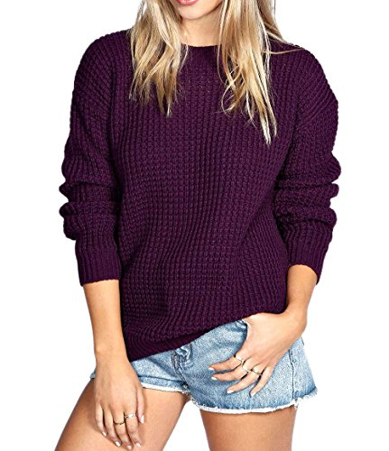 Womens Ladies Oversized Baggy Long Thick Knitted Plain Chunky Top Sweater Jumper SXL