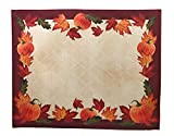 Disposable Paper Placemats - Autumn Decor- Pumpkins and Fall Maple Leaves Paper Placemats 36 Count