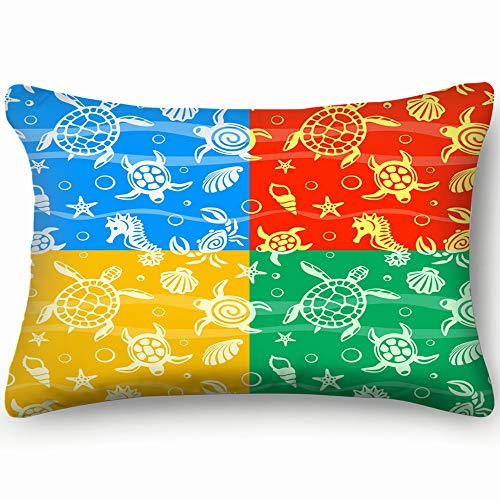 best bags Turtles Illustrations Clip Art Turtle Transportation Home Decor Wedding Gift Engagement Present Housewarming Gift Cushion Cover 20X30 Inch ()
