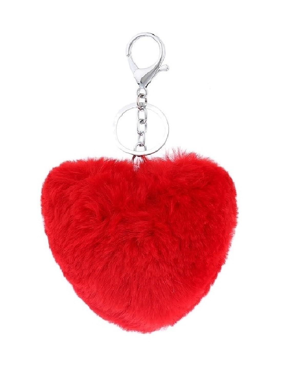 Amazon Red Heart Keychain Soft Fluffy Fur Ball Pompom Car Bag