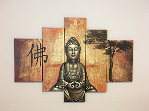 Living Room Bedroom Decoration-Meditation Buddah Oil Painting Stretched on Canvas Wall Art. Ready to Hang