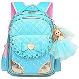 Cute Waterproof Backpacks for Girls Princess Style Schoolbag Bookbags (Large, Blue)