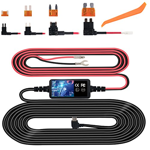 Dash Cam Hardwire Kit, Mini USB Hard Wire Kit Fuse for Dashcam, Plozoe 12V-30V to 5V Car Dash Camera Charger Power Cord, Gift 4 Fuse Tap Cable and Installation Tool(11.5ft) ()