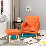 Beshomethings Fabric Tub Chair Armchair With Footstool Linen Sofa Stool For Dining Living Room Lounge Reception Office (Orange)