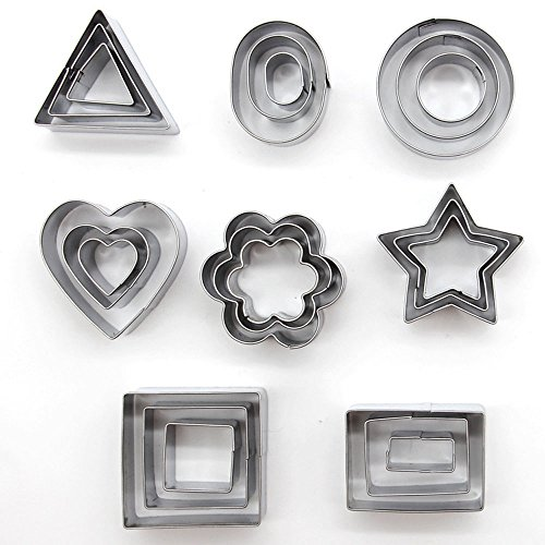 24 pcs/set Cookie Cutter Mold Stainless Steel 8 Shapes Cake Mold Stamp Sugar Craft Fondant Decoration Tools (Dog Cookie Bouquet)