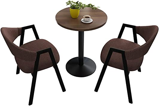 Amazon Com Office Table And Chair Set 2 Modern Round Dining Table And Chairs 1 Table 2 Chairs 60cm Round Table Leisure Cotton Linen Chair Clothing Store Balcony Lounge Cafe Kitchen Dining