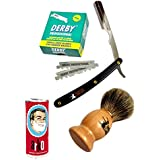 Classic Samurai Men Premium Shaving Set with CS-101B Stainless Steel Professional Barber Straight Edge Razor with 100 Derby Single Razor Blades, Pure Badger Shaving Brush, Arko Stick Soap