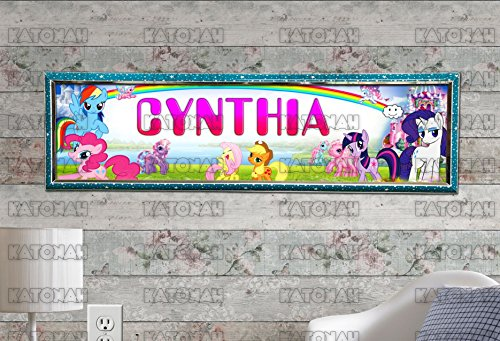 (Customized Name Painting My Little Pony Poster With Your Name On It Personalized Banner With Hard Frame)