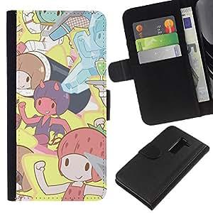 All Phone Most Case / Oferta Especial Cáscara Funda de cuero Monedero Cubierta de proteccion Caso / Wallet Case for LG G2 D800 // Cute Cartoon Pixies