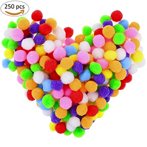 TedGem 250 Pcs 1 Inch Crafts Pompoms, Assorted Multicolor Pom Poms Hobby Supplies and DIY Creative Crafts Decorations, Pipe Cleaners for Craft Supplies