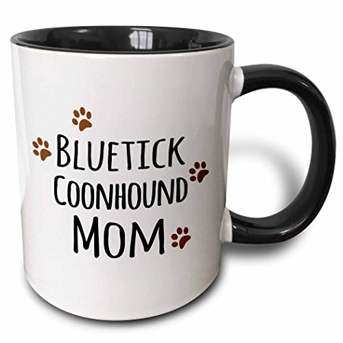 3dRose (mug_154077_4) Blue tick Coonhound Dog Mom - Doggie by breed - brown muddy paw prints - doggy lover mama - pet owner - Two Tone Black Mug, - Dog Coonhound Breed