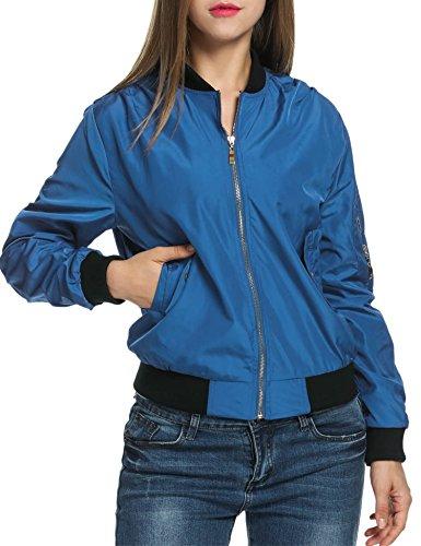 Zeagoo Women's Casual Zip-Up Solid Biker Jacket Short Slim Fit Bomber Jacket 51 dollyyCL