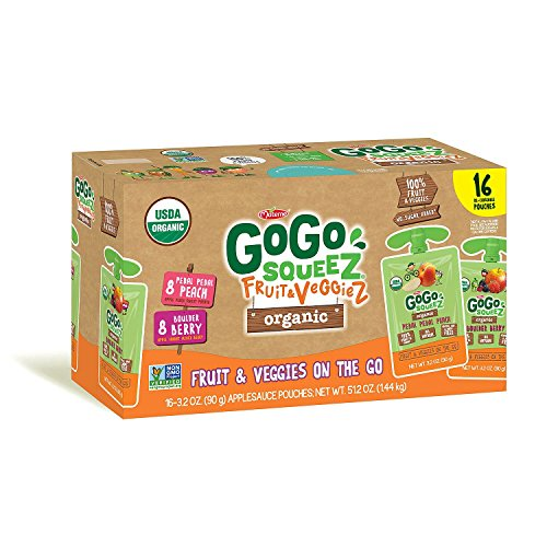 GoGo Squeez Organic Fruit & Veggiez On the Go Pouch, 3.2 ounce (Pack of 16) from GoGo Squeez