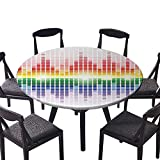Easy-Care Cloth Tablecloth Rainbow Like Digital Equalizer Amplifier Recording Equipment Club for Home, Party, Wedding 43.5