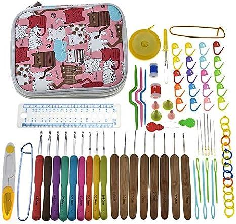 Zamtac - Juego de agujas de ganchillo para tejer con estuche: Amazon.es: Juguetes y juegos