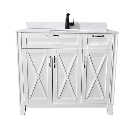 phasat bathroom vanity with white marble top single sink 40 inch bath vanity without - 40 Inch Bathroom Vanity