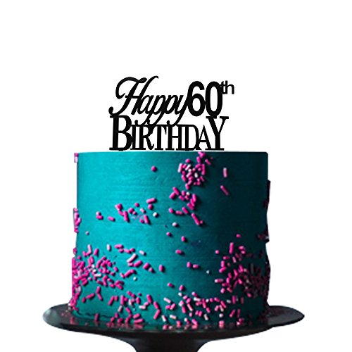 Happy 60th birthday cake topper for 60th birthday party decorations Black Acrylic ()