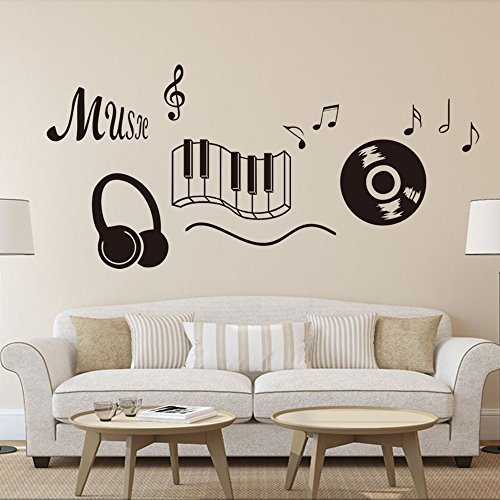 Aiwall 9227 Wallpaper Home Decoration Wall Art Fashion Sticker Headphone Music large Musical NOTES removable Vinyl Wall Quote Decal