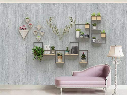 Potted Floral Wallpaper Border - 3D Mural Wallpaper Geometric Line Potted Antlers Custom Large Wallpaper 3D Effect Giant Murals Wall Paper,150cmX105cm