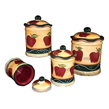 4 Pc Country Apple Canister Set Country