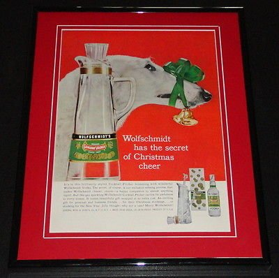 Wolfschmidt Vodka (1958 Wolfschmidt Vodka Christmas 11x14 Framed ORIGINAL Vintage Advertisement)
