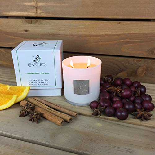 Cranberry Orange Fragrance | LeafBird Luxury Scented Candle | Natural Soy Wax with Strong Fragrance | Luxury Gift Box ()