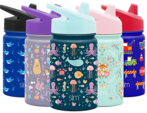 Simple Modern Kids Insulated Cup with Lid and Silicone Straw Stainless Steel Flask Metal Thermos for Toddlers Boys and Girls, 10oz Sippy, Sea